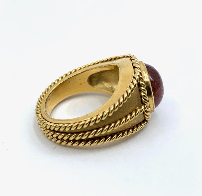 5 Carat Pink Tourmaline in Brushed 18 Karat Yellow Gold Signet Ring, circa 1970 For Sale 7