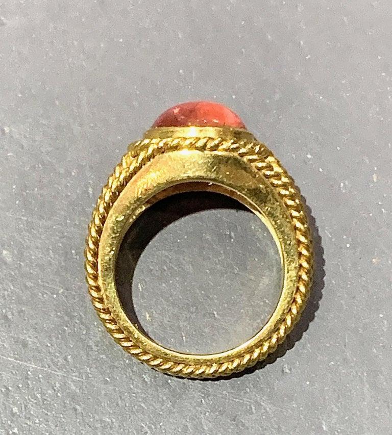 5 Carat Pink Tourmaline in Brushed 18 Karat Yellow Gold Signet Ring, circa 1970 For Sale 9
