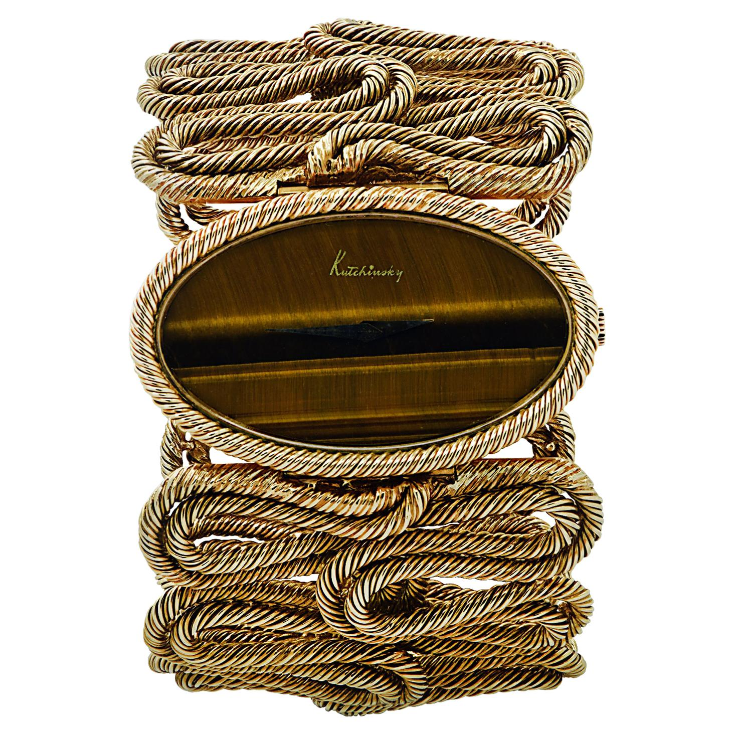 Circa 1970 Kutchinsky Yellow Gold Tiger's Eye Cuff Watch