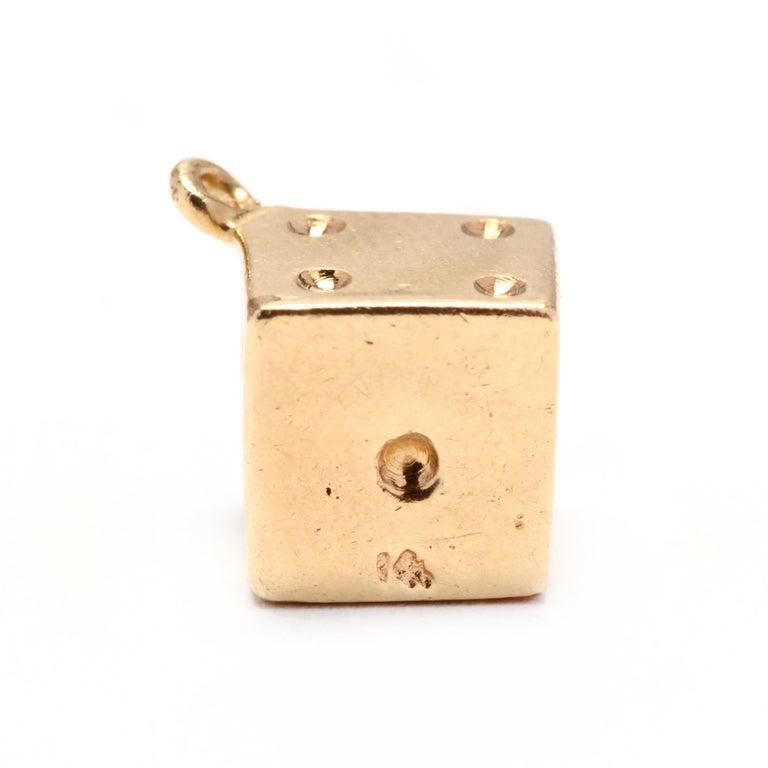 Women's or Men's 14 Karat Gold Dice Charm, circa 1970s For Sale