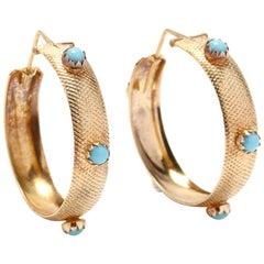 18 Karat Gold and Turquoise Hoop Earrings, circa 1970s