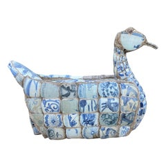 circa 1970s-1980s Blue & White Chardware Duck Assembled with Old Pieces