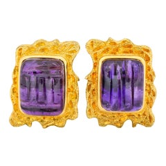 Amethyst 14 Karat Yellow Gold Ear-Clip Earrings, circa 1970s