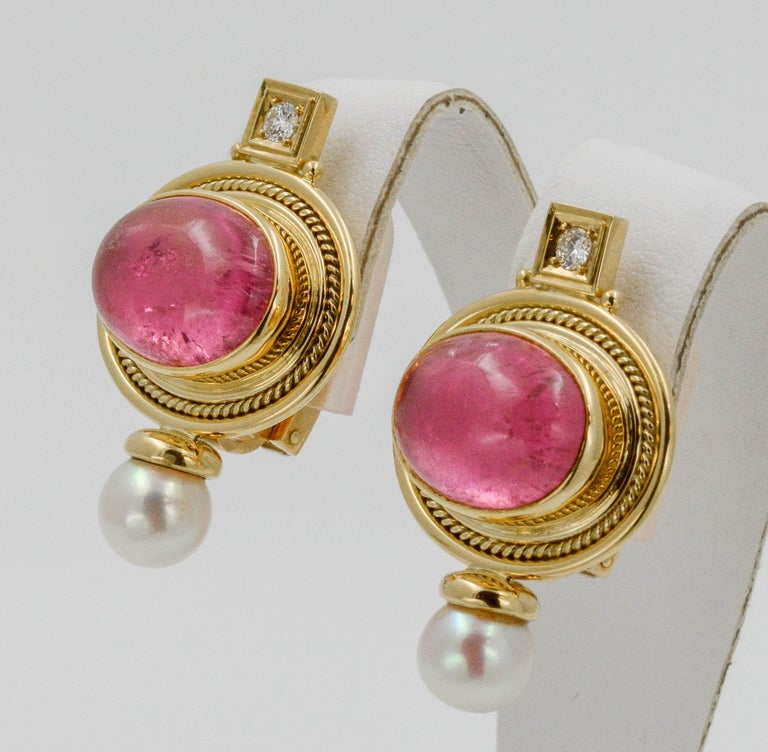 Oval Cut Elizabeth Gage 18 KY Pink Tourmaline Diamond Clip Back Earrings, circa 1970s