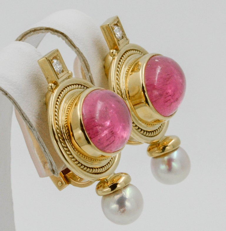 Elizabeth Gage 18 KY Pink Tourmaline Diamond Clip Back Earrings, circa 1970s In Excellent Condition In Dallas, TX