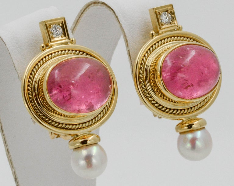 Women's Elizabeth Gage 18 KY Pink Tourmaline Diamond Clip Back Earrings, circa 1970s