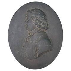 English Wedgwood Style Basalt Portrait Medallion of William Hackwood circa 1970s