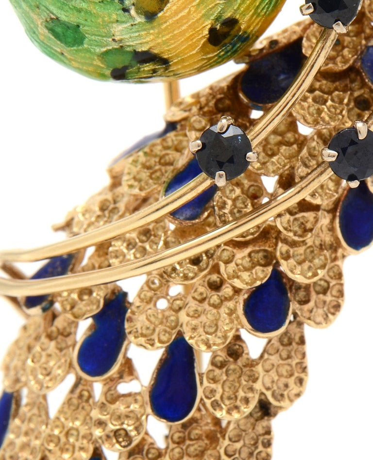 Ornate Retro Enamel Peacock Bird Brooch Ruby and Sapphire Accents, circa 1970s For Sale 2