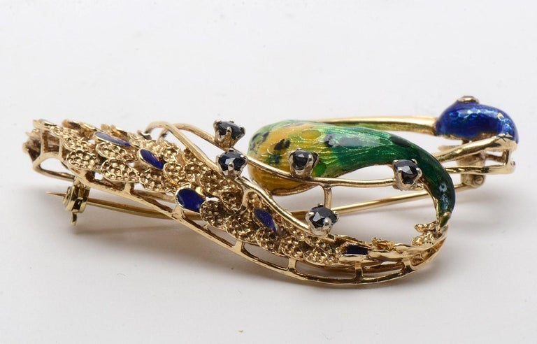 Ornate Retro Enamel Peacock Bird Brooch Ruby and Sapphire Accents, circa 1970s For Sale 4