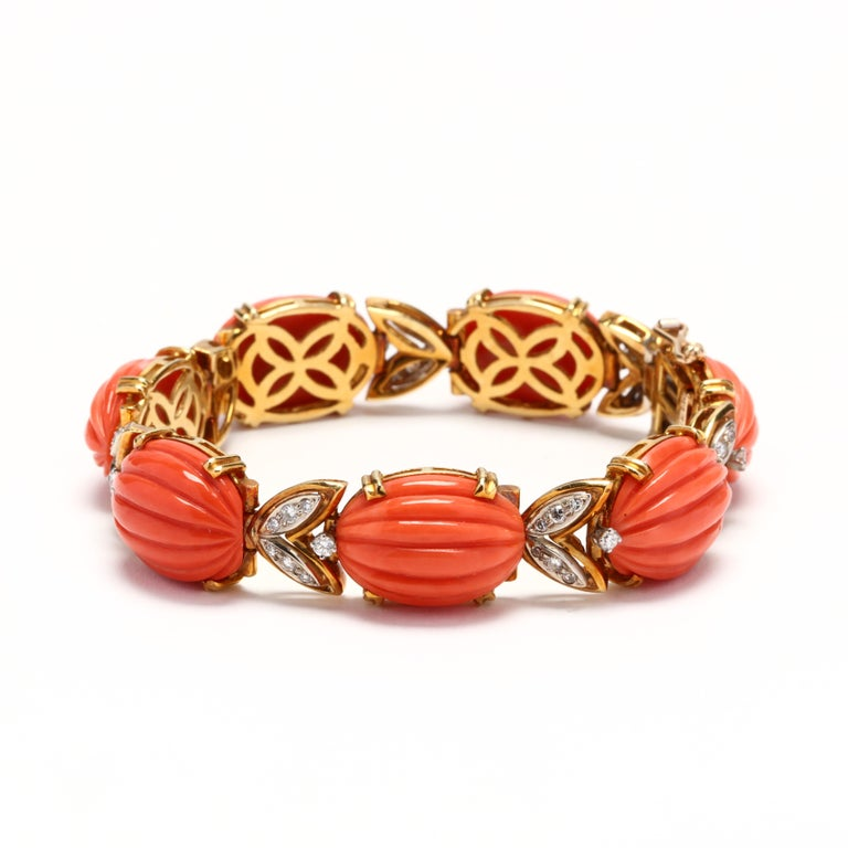 Oval Cut Tiffany & Co. 18 Karat Bi-Color Gold Coral and Diamond Bracelet, circa 1970s