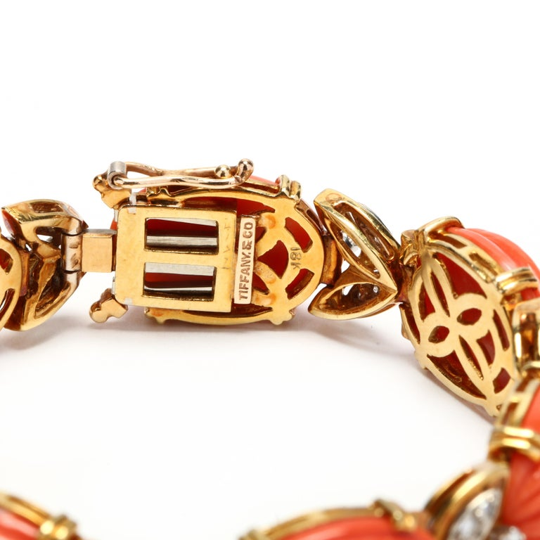 Tiffany & Co. 18 Karat Bi-Color Gold Coral and Diamond Bracelet, circa 1970s In Good Condition In McLeansville, NC