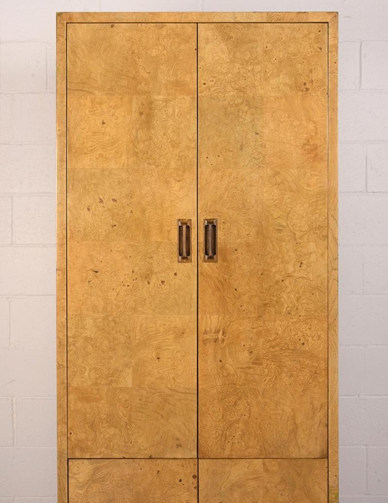 Mid-Century Modern Two-Door Burled Wardrobe by Henredon, circa 1970s For Sale