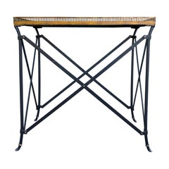Circa 1980 Neoclassical Style Metal Side Table, Old Mirrored Top