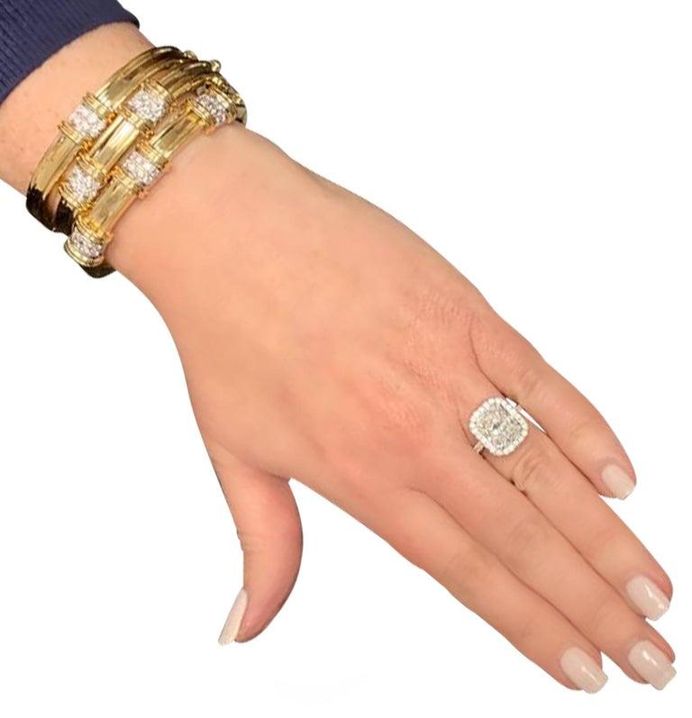 Modern Yellow Gold and Diamond Bangle Bracelet Set, circa 1980s For Sale