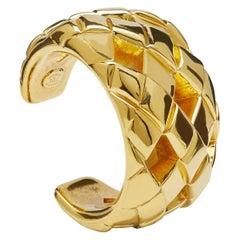 Circa 1984 Chanel Gold Matelassé Cuff Bracelet by Victoire de Castallane