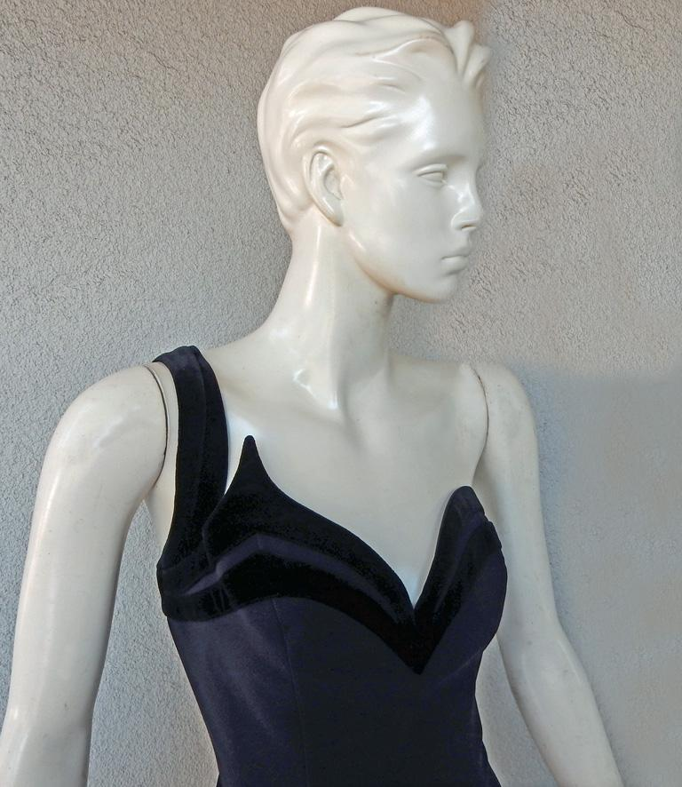 Circa 1990's black and blue Thierry Mugler one shoulder column crepe gown featuring black velvet