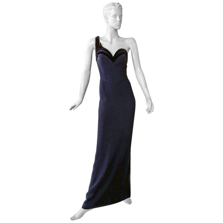 Circa 1990's Thierry Mugler One Shoulder Dress Gown with Thigh High Slit For Sale