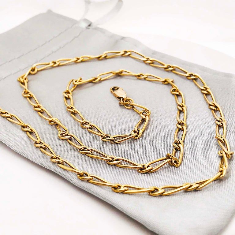 Paperclip Link Figaro Necklace with Large Clasp, 14 Karat Gold, circa 1995 6
