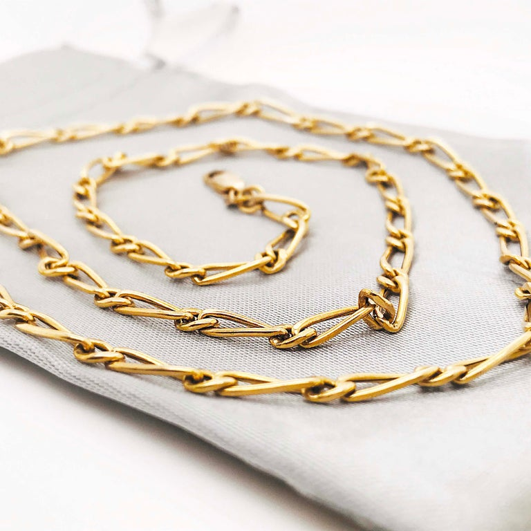 Paperclip Link Figaro Necklace with Large Clasp, 14 Karat Gold, circa 1995 7