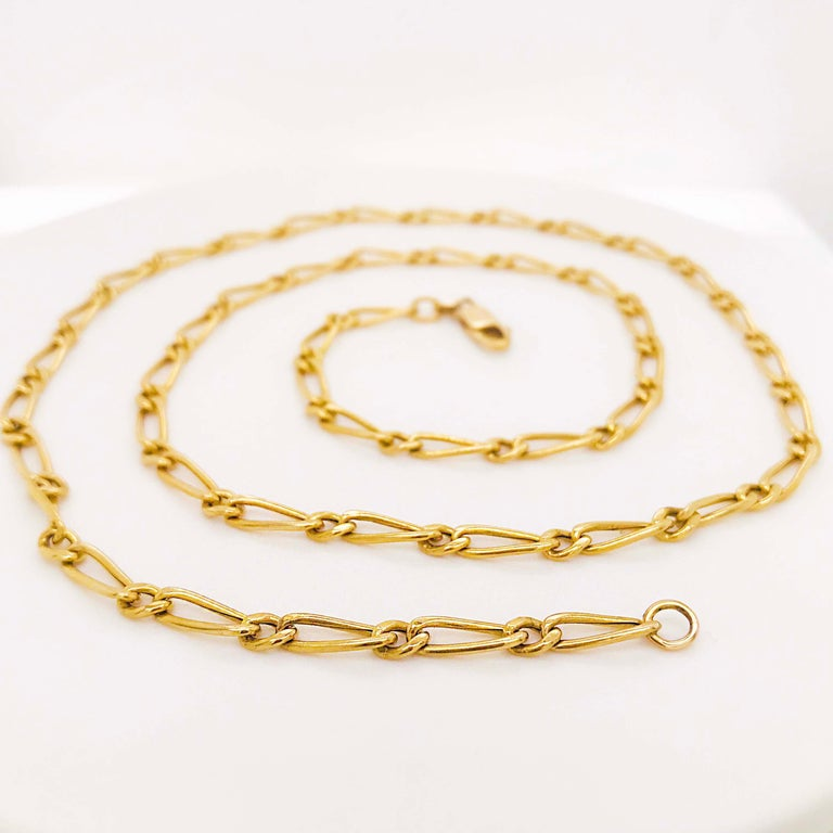Paperclip Link Figaro Necklace with Large Clasp, 14 Karat Gold, circa 1995 In New Condition In Austin, TX
