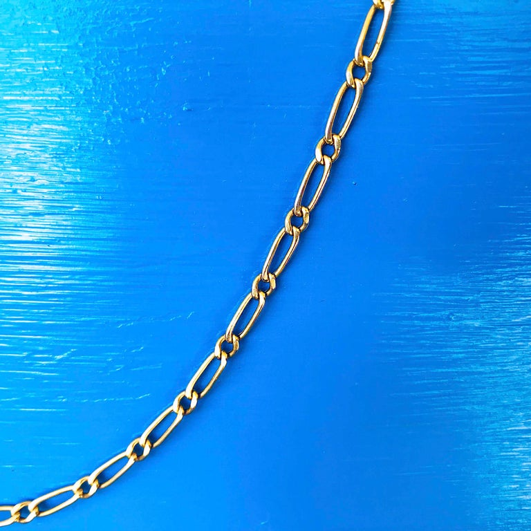 Paperclip Link Figaro Necklace with Large Clasp, 14 Karat Gold, circa 1995 2