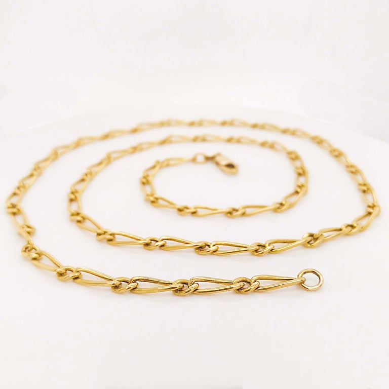 Paperclip Link Figaro Necklace with Large Clasp, 14 Karat Gold, circa 1995 3