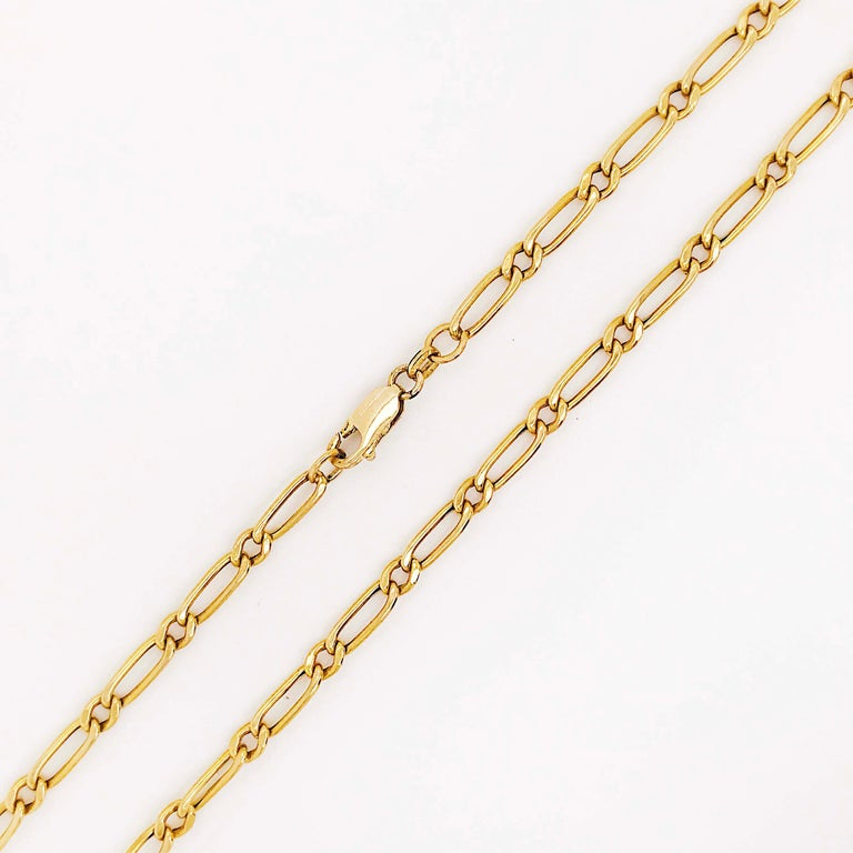 Paperclip Link Figaro Necklace with Large Clasp, 14 Karat Gold, circa 1995 4