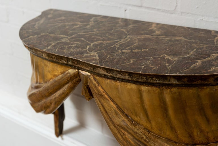 Neoclassical Highly Decorative Italian Painted and Gilded Console Table, circa 19th Century For Sale