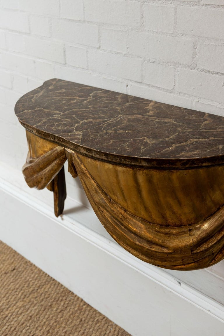 Highly Decorative Italian Painted and Gilded Console Table, circa 19th Century In Good Condition For Sale In London, GB