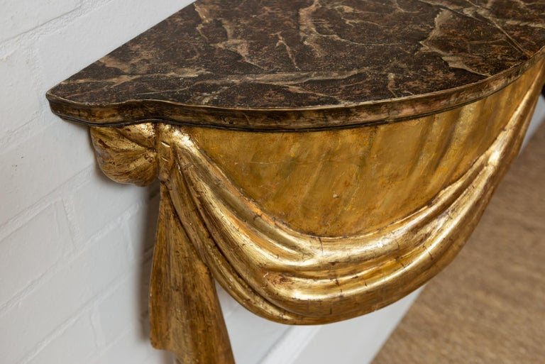 Wood Highly Decorative Italian Painted and Gilded Console Table, circa 19th Century For Sale