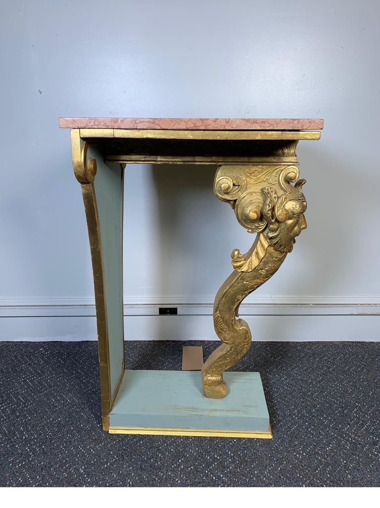 Italian Pair of Carved Wood Gilt Pedestals With Marble Top, circa 19th Century For Sale 1