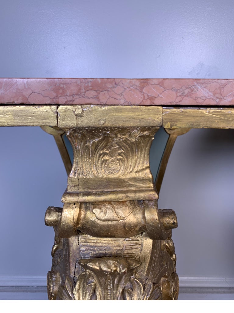 Italian Pair of Carved Wood Gilt Pedestals With Marble Top, circa 19th Century For Sale 2