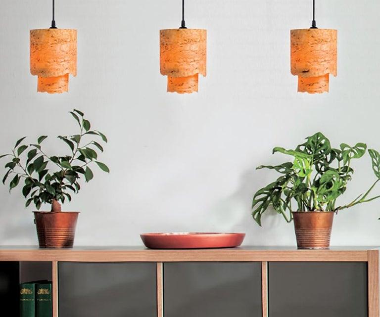 Organic Modern CIRCA Custom Karelian Burl Wood with Live Edge Cylinder Pendant For Sale