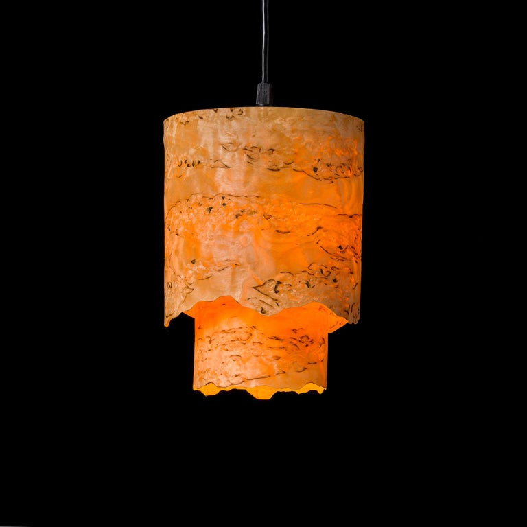Hand-Crafted CIRCA Custom Karelian Burl Wood with Live Edge Cylinder Pendant For Sale