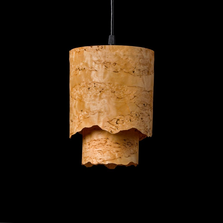 CIRCA Custom Karelian Burl Wood with Live Edge Cylinder Pendant In New Condition For Sale In Bend, OR