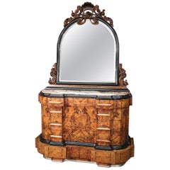 Circassian Walnut Carved Italian Art Deco Grand Dresser with Matching Mirror