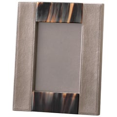 Circe Picture Frame in Grey Tosca Leather 'cat. Super' and Dark Horn, Mod. 913