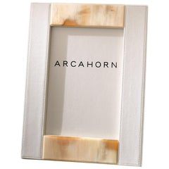 Circe Picture Frame in Ivory Tosca leather 'cat. Super' and Horn, Mod. 909