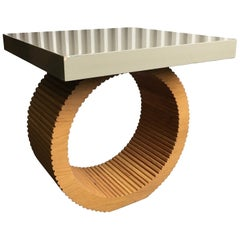 Circle and Square Wood Veneer and Grey Lacquered End Table