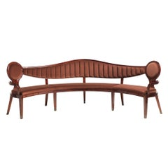 Circle Bow Bench in Velvet Art Fiocco Brown