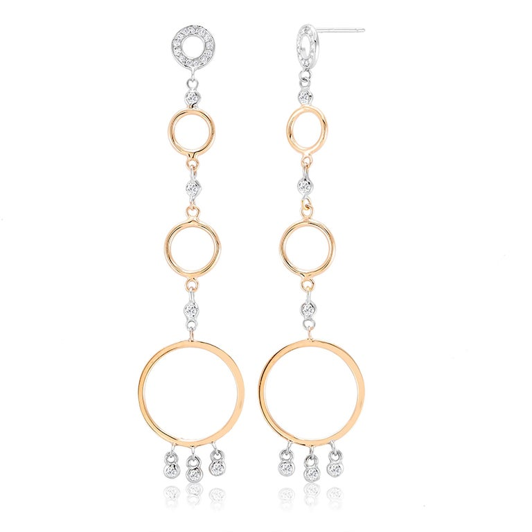 Modern White and Yellow Gold Circle Diamond Earrings Three Inch Long  For Sale