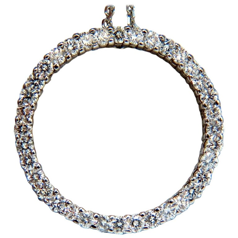 Circle Diamond Necklace 1.50 Carat 14 Karat G/Vs Rounds For Sale