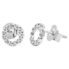 Circle Diamond Stud Earrings 14K White, Yellow, and Rose Gold