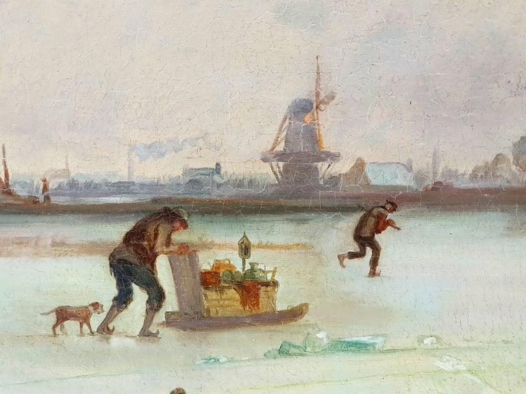 Oil on canvas.  This painting is made in the tradition of Dutch landscape painting of the Golden Age in the 17th century. The winter scenes by Hendrick Avercamp (ca. 1585-1634) and Jacob van Ruisdael (ca. 1629-1682) are particularly