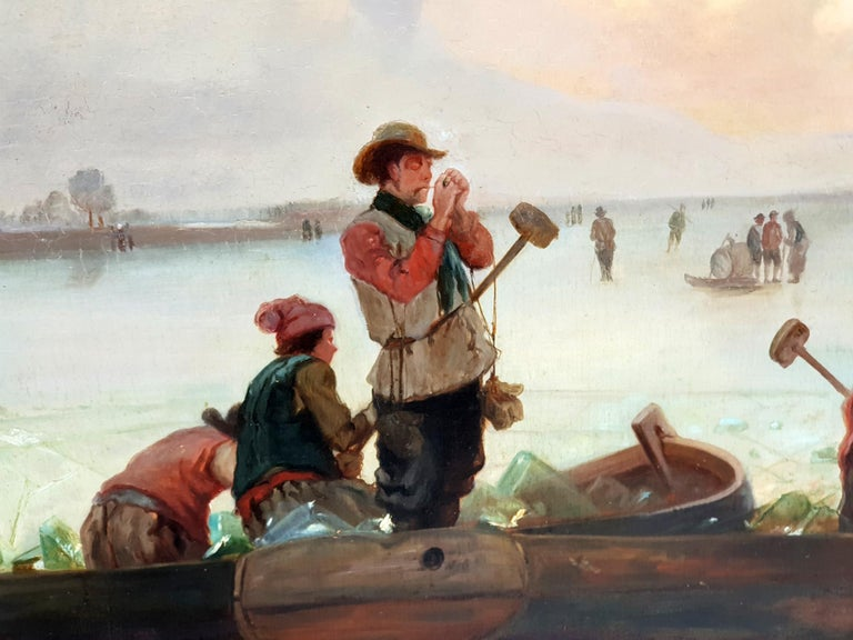 Hand-Painted Circle/Follower of Fredrik Marinus Kruseman, Winter At The Lake, 1880s For Sale