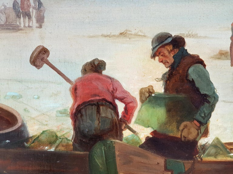 Circle/Follower of Fredrik Marinus Kruseman, Winter At The Lake, 1880s In Good Condition For Sale In Kiel, Schleswig-Holstein