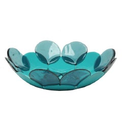 Circle Large Resin Basket in Clear Aqua and Matt Turquoise by Enzo Mari
