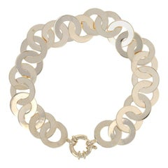 Circle Link Bracelet, 14 Karat Yellow Gold Twist Spring Ring Clasp