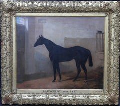 Launcelot - Bay horse in a stable - Old Master British art equine oil painting