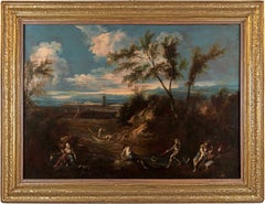 18th century Italian landscape painting - Forest - Oil on canvas Peruzzini italy